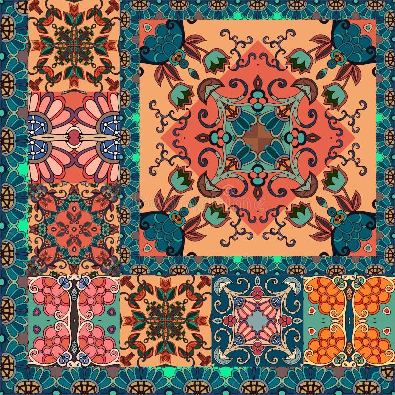 Quarter of ornamental shawl in ethnic style. Indian, persian, arabian motifs.  royalty free illustration