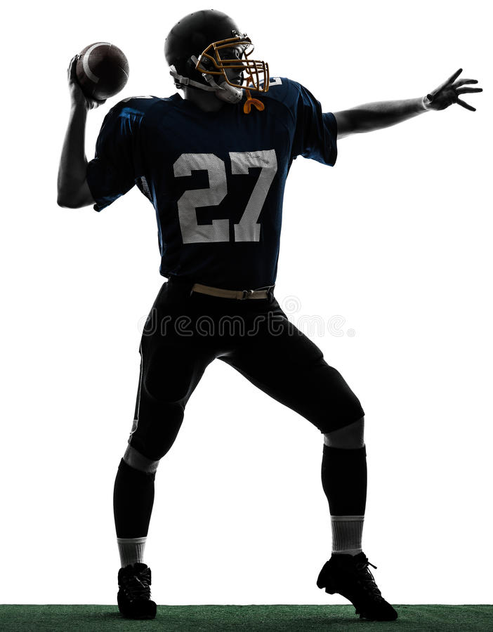 Download Quarterback American Throwing Football Player Man Silhouette Stock Image - Image: 35143713