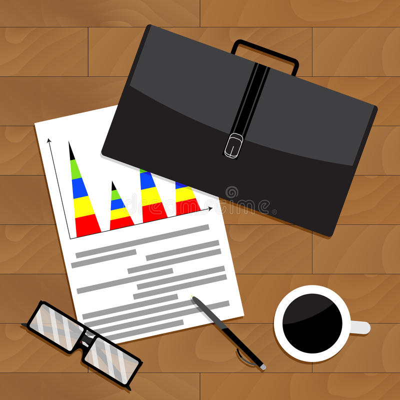 Quarterly business report top view chart. Vector quarter and annual report, illustration of business report royalty free illustration