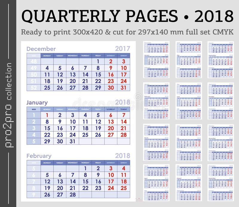 download quarterly pages 2018 year ready to print cmyk set stock illustration illustration of month