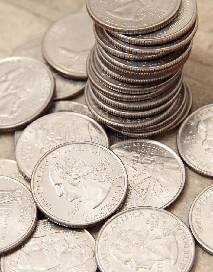 Quarters. 25-cent coin, quarters of dollar stock photo