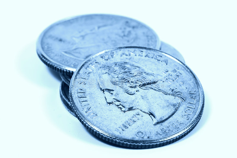 Quarters in Cyan royalty free stock photo