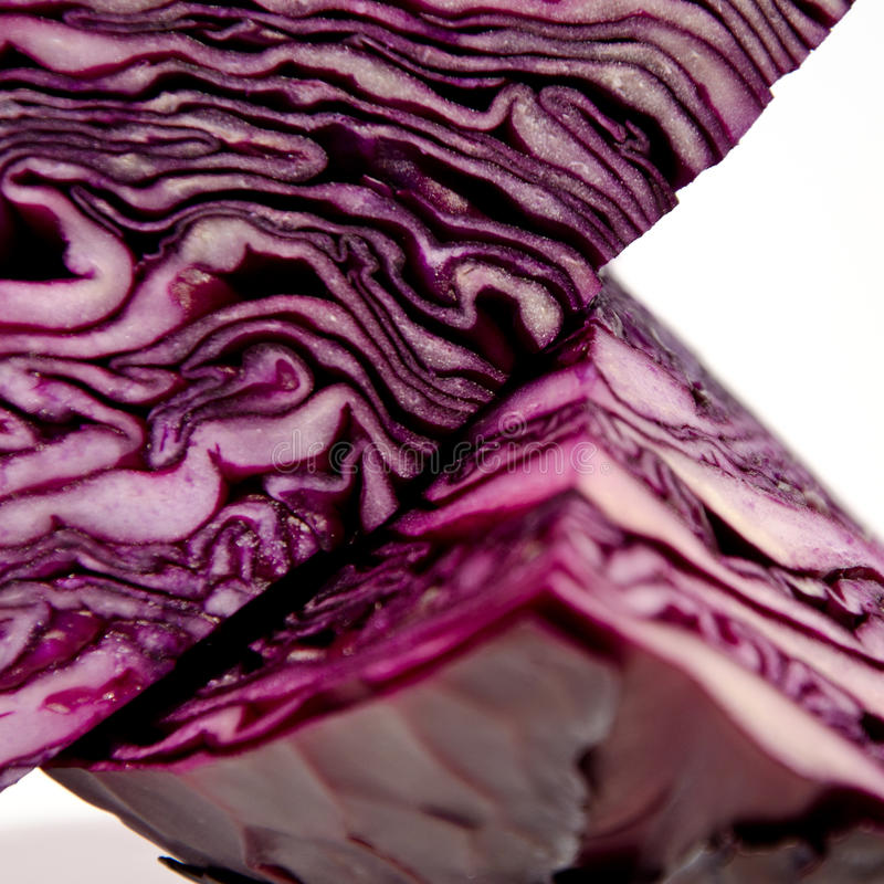 Quarters of a red cabbage royalty free stock photos