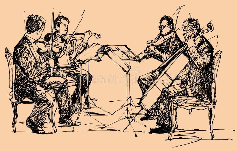 Quartet de musicien illustration de vecteur