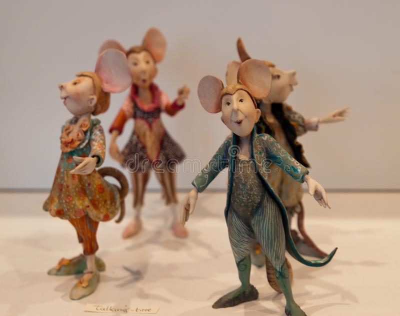 The quartet singing mice dolls stock photo