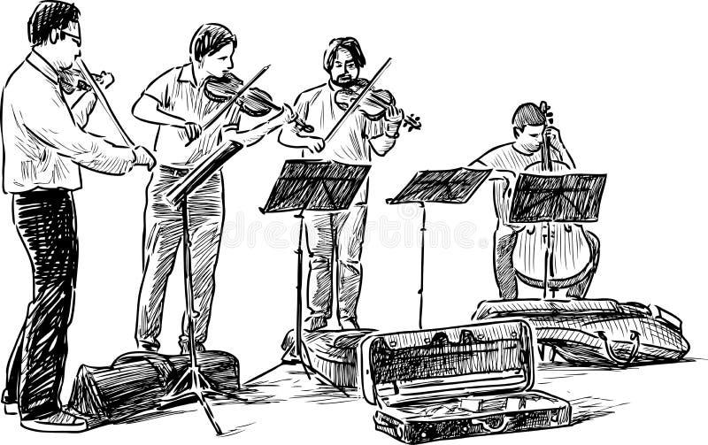 Quartet of street musicians royalty free illustration