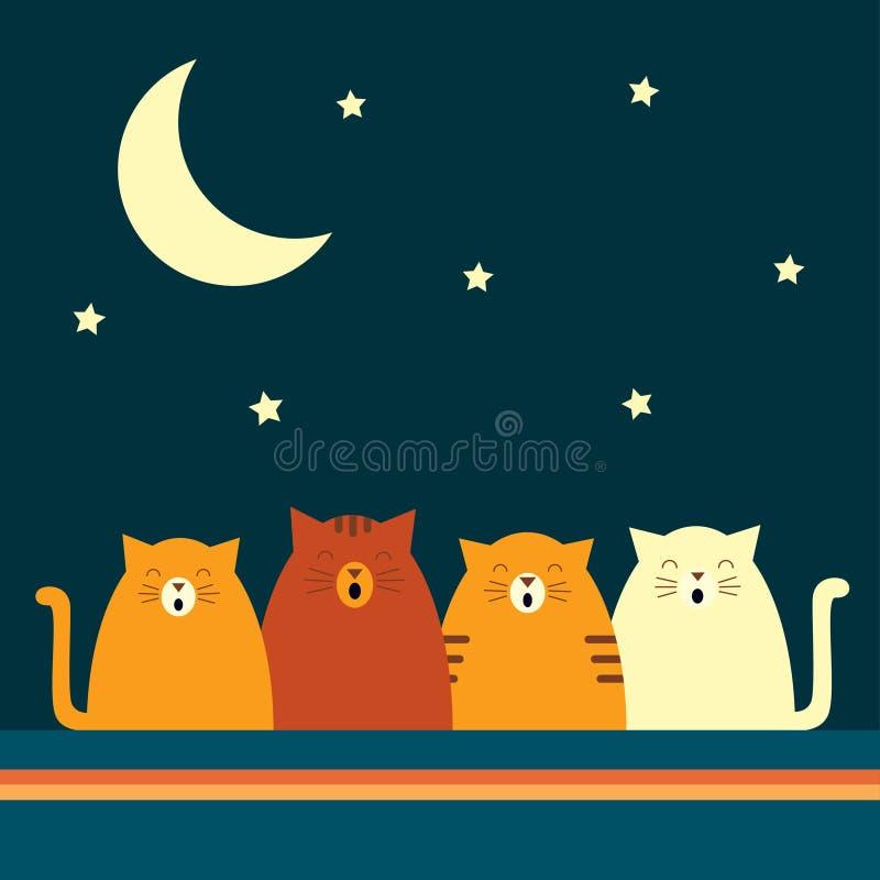 Quarteto retro do gato ilustração stock