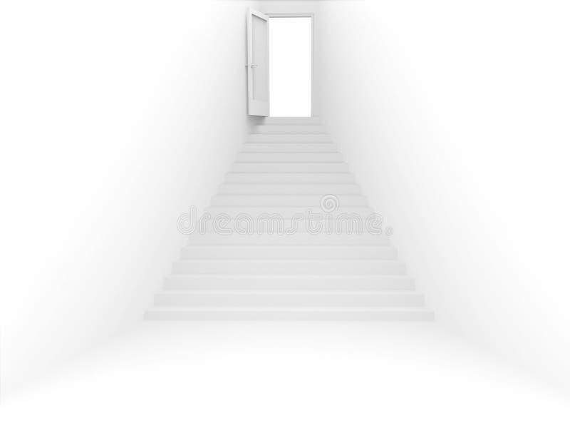 quarto 3d com porta e escada da cor branca ilustração stock