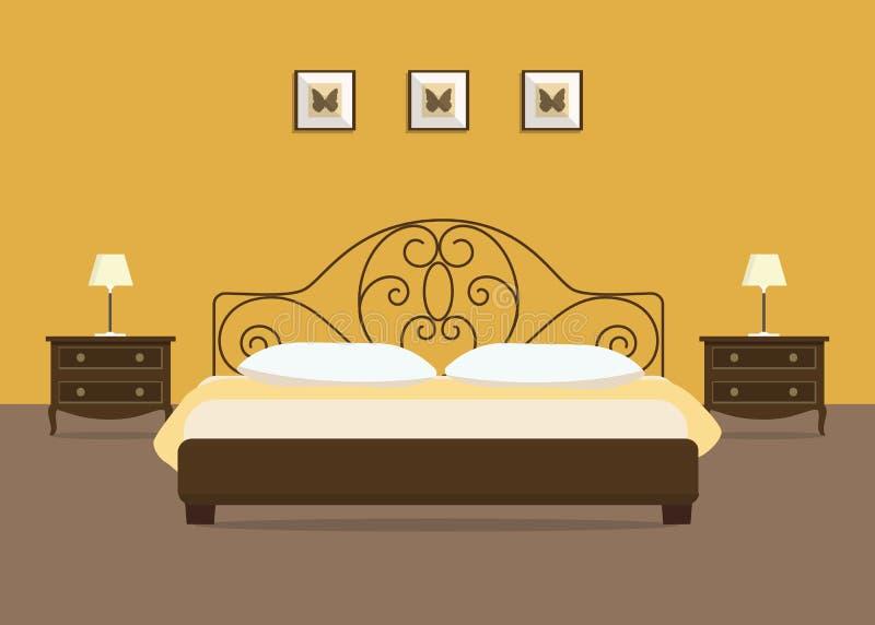 Quarto amarelo com uma cama marrom e as tabelas de cabeceira ilustração royalty free