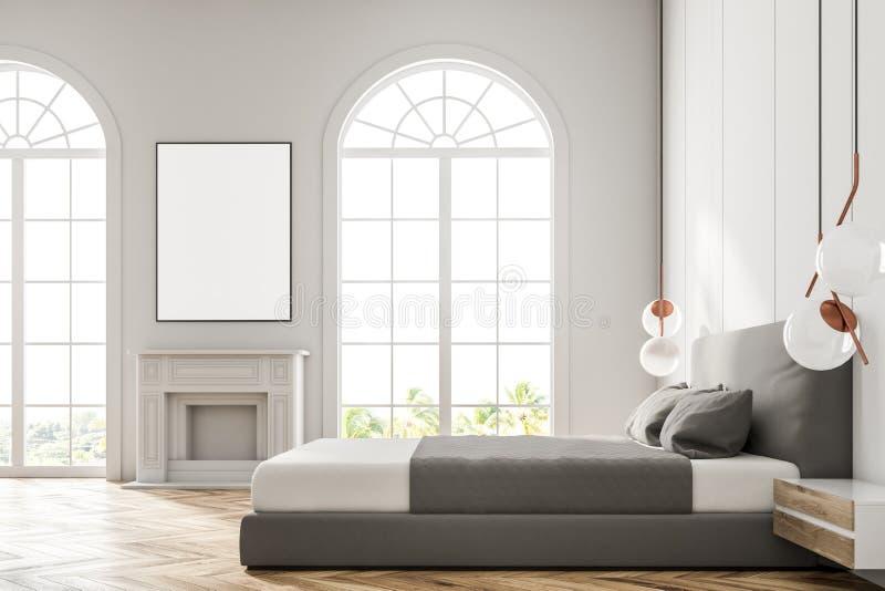 Quarto arqueado branco da janela, cartaz ilustração royalty free