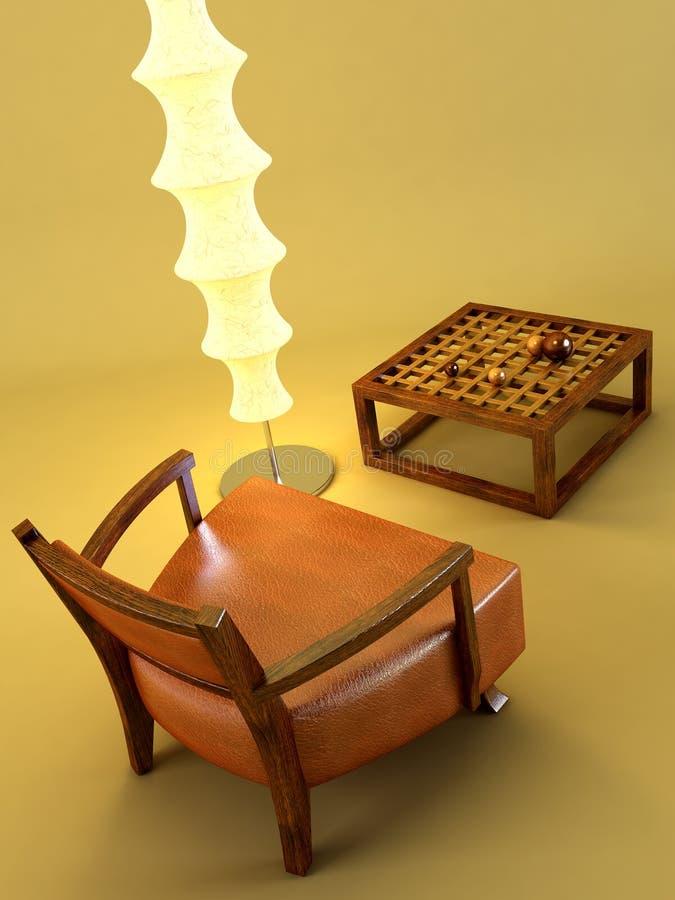 Quarto asiático da sala de estar do estilo ilustração do vetor