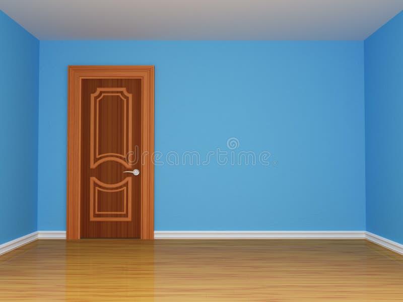 Quarto azul com porta ilustração do vetor
