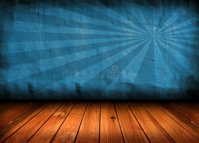 Quarto azul do vintage escuro com assoalho de madeira fotos de stock royalty free