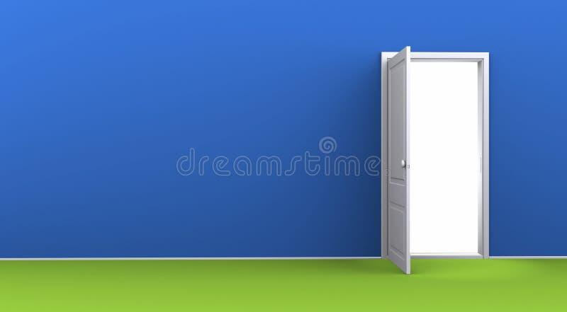 Quarto azul vazio com uma porta aberta ilustração stock