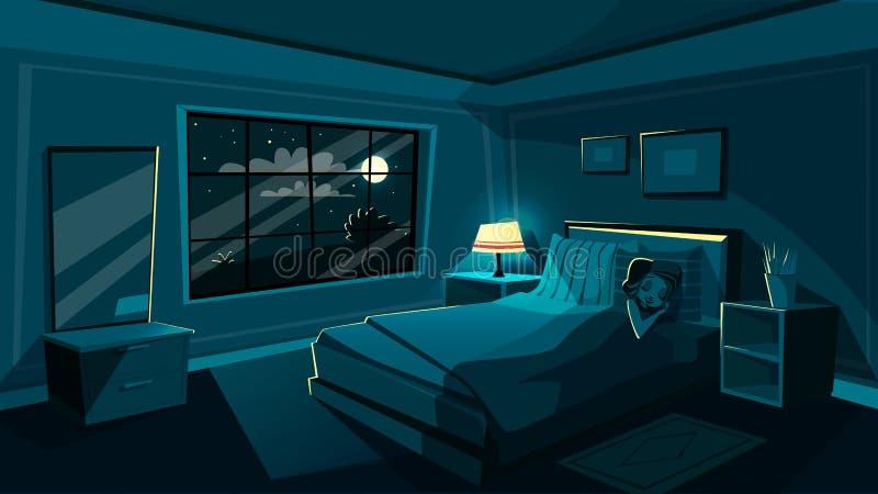 Quarto bonito do sono da jovem mulher do vetor na noite ilustração stock