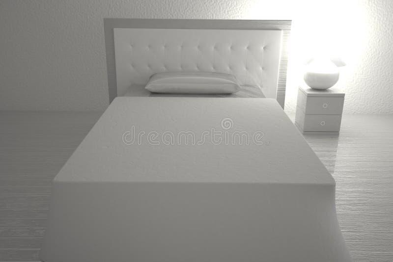 Quarto branco com cama e lâmpada ilustração royalty free