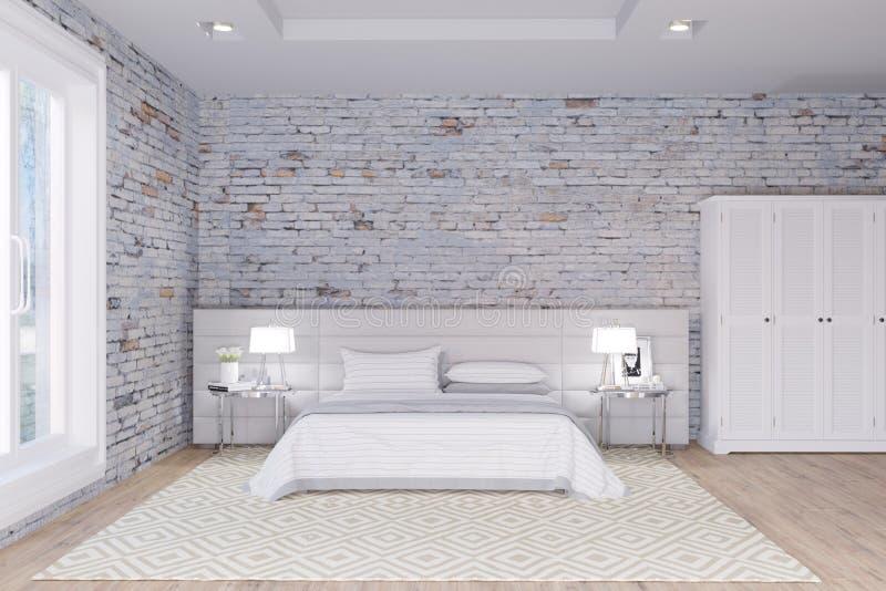 Quarto branco no interior do sótão das paredes de tijolo ilustração royalty free
