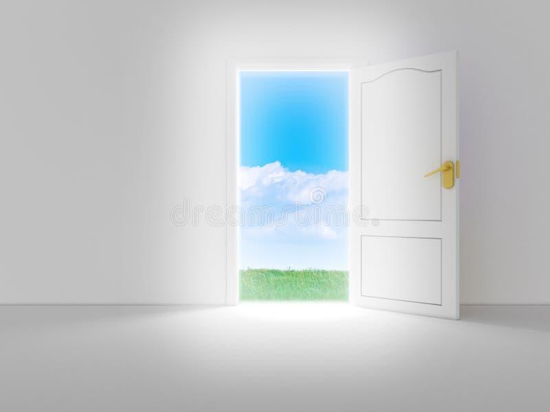 Quarto branco vazio com porta aberta ilustração stock