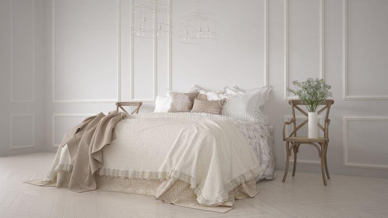 Quarto clássico de Minimalistic, design de interiores branco ilustração stock