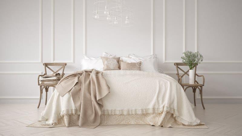 Quarto clássico de Minimalistic, design de interiores branco fotos de stock