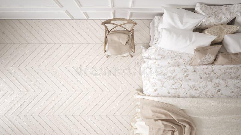 Quarto clássico de Minimalistic, vista superior, design de interiores branco imagem de stock