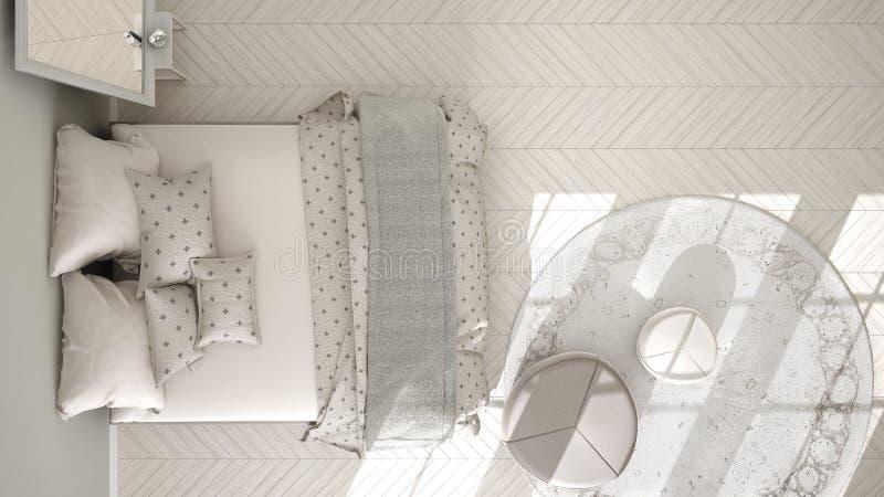 Quarto clássico, design de interiores escandinavo minimalistic, parte superior ilustração do vetor