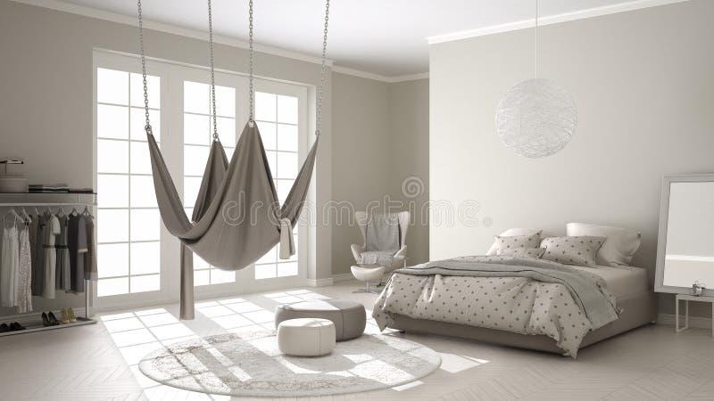 Quarto clássico, design de interiores minimalistic, com escandinavo ilustração stock