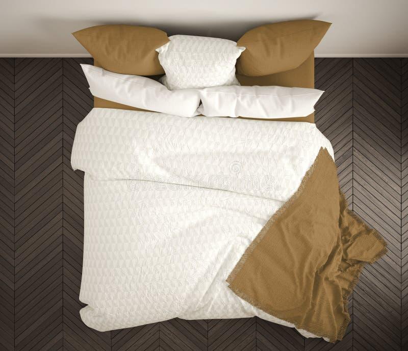 Quarto clássico escandinavo, vista superior, close up na cama branca e amarela dobro, assoalho de parquet, interior moderno conte ilustração royalty free