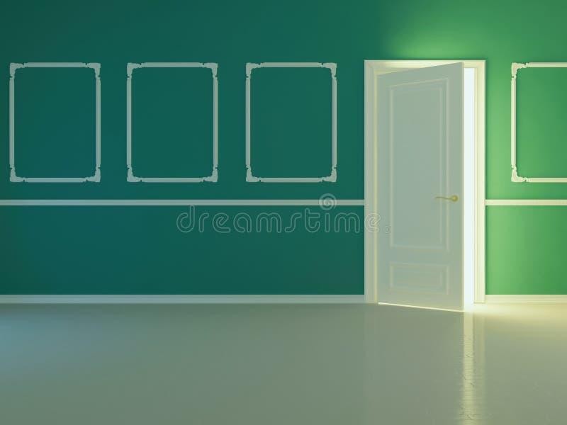 Quarto clássico novo vazio com porta aberta. ilustração stock