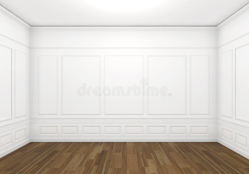 Quarto clássico vazio branco ilustração stock