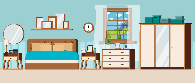 Quarto com ideia da janela da paisagem do dia de verão com lago e mobília azuis ilustração royalty free