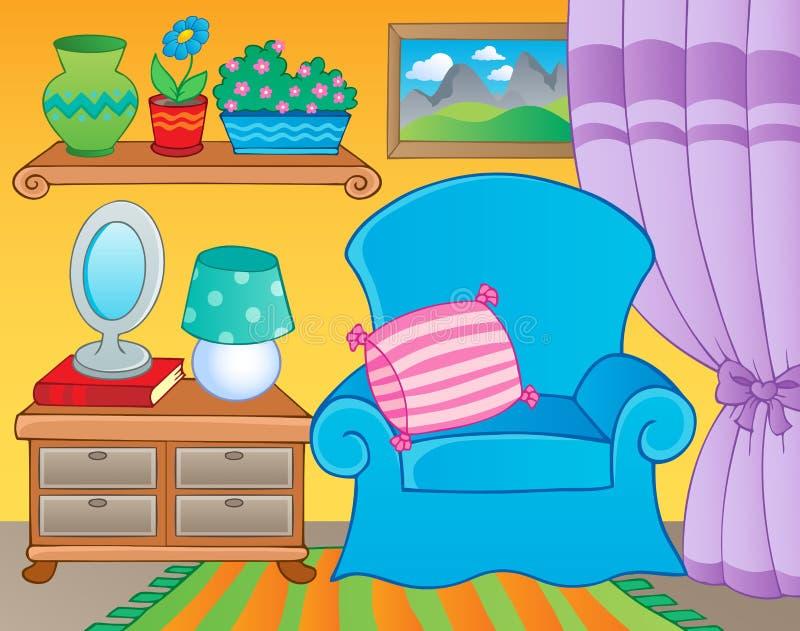Quarto com imagem 2 do tema da mobília ilustração royalty free