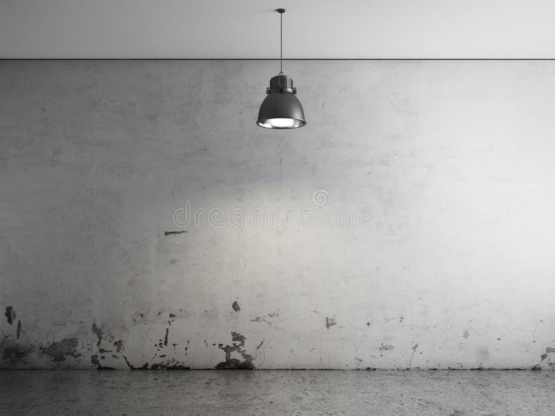 Quarto com lâmpada do teto e o assoalho concreto ilustração royalty free