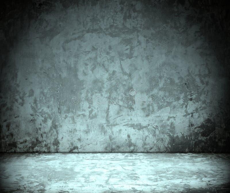 Quarto com muro de cimento do grunge, assoalho do cimento imagens de stock royalty free