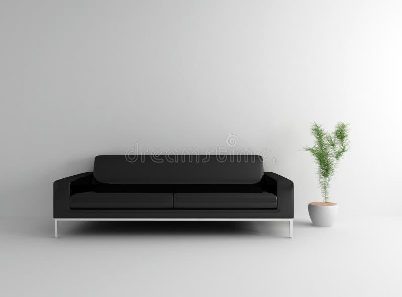 Quarto com sofá de couro ilustração do vetor
