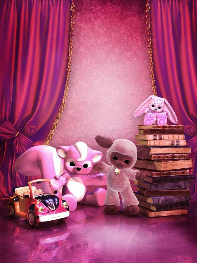 Quarto cor-de-rosa com brinquedos e livros ilustração do vetor