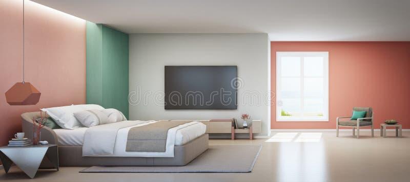 Quarto da opinião do mar e sala de visitas cor-de-rosa da casa de praia luxuosa do verão com cama de casal perto do armário de ma imagens de stock
