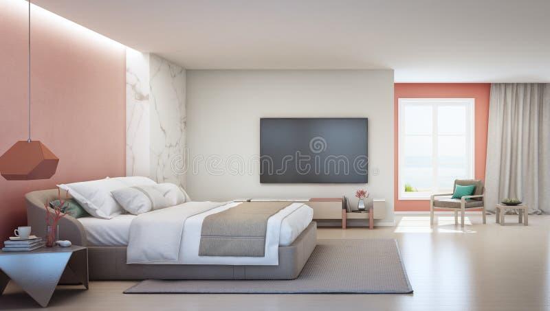 Quarto da opinião do mar e sala de visitas coral cor-de-rosa da casa de praia luxuosa do verão com cama de casal perto do armário imagem de stock