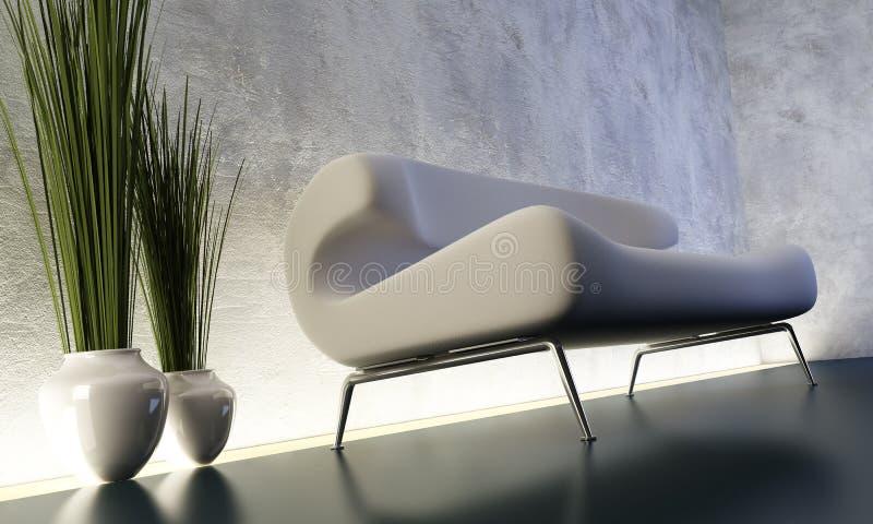 Quarto da sala de estar com floorlight ilustração stock