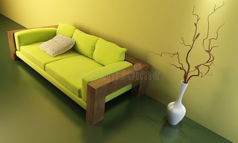 Quarto da sala de estar com sofá ilustração royalty free