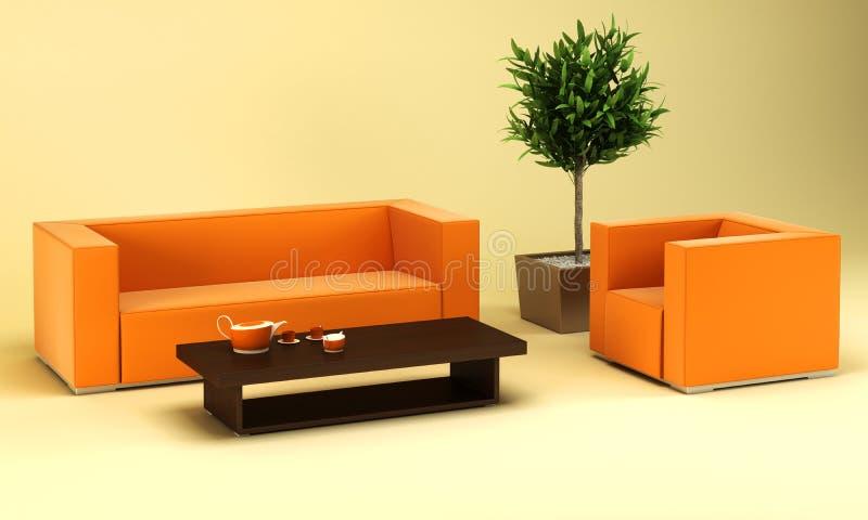 Quarto da sala de estar com sofá de couro ilustração stock