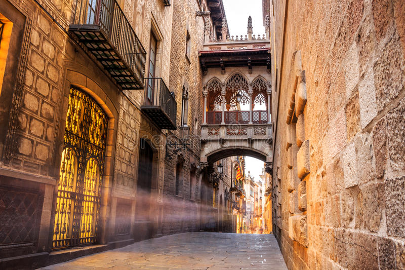 Quarto de Barri Gotic de Barcelona, Espanha imagem de stock