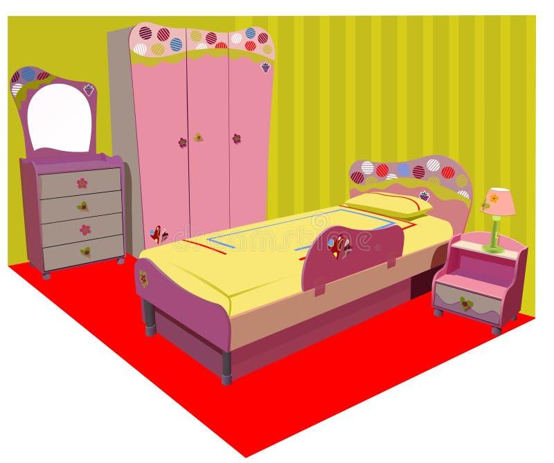 Quarto de crianças colorido ilustração royalty free