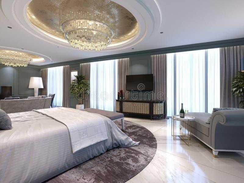 Quarto de hóspedes em um hotel novo luxuoso com espaço aberto, um quarto e uma sala de estar da sala de visitas ilustração stock