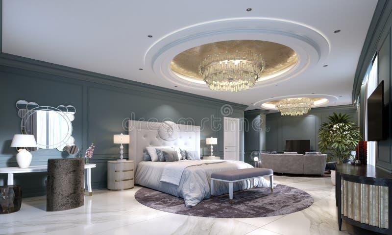 Quarto de hóspedes em um hotel novo luxuoso com espaço aberto, um quarto e uma sala de estar da sala de visitas ilustração do vetor