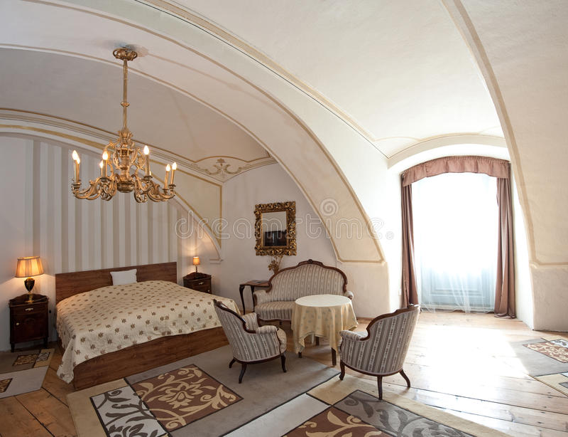 Quarto de hotel no estilo do vintage imagens de stock royalty free