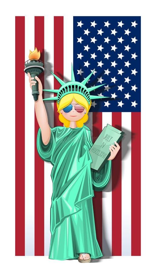 Quarto de julho Cart?o do Dia da Independ?ncia dos E.U. ilustração do vetor