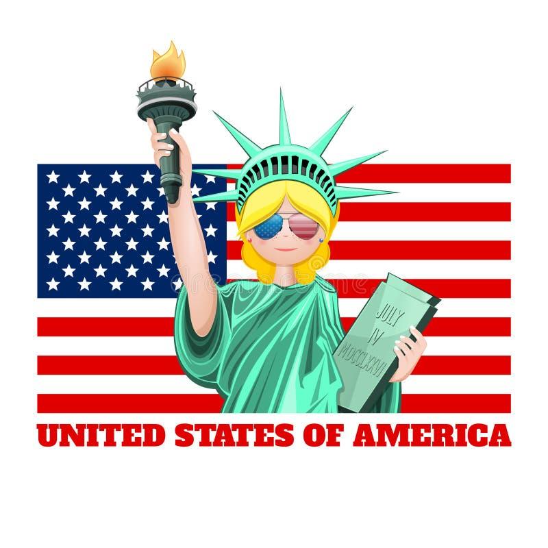 Quarto de julho Cart?o do Dia da Independ?ncia dos E.U. ilustração royalty free