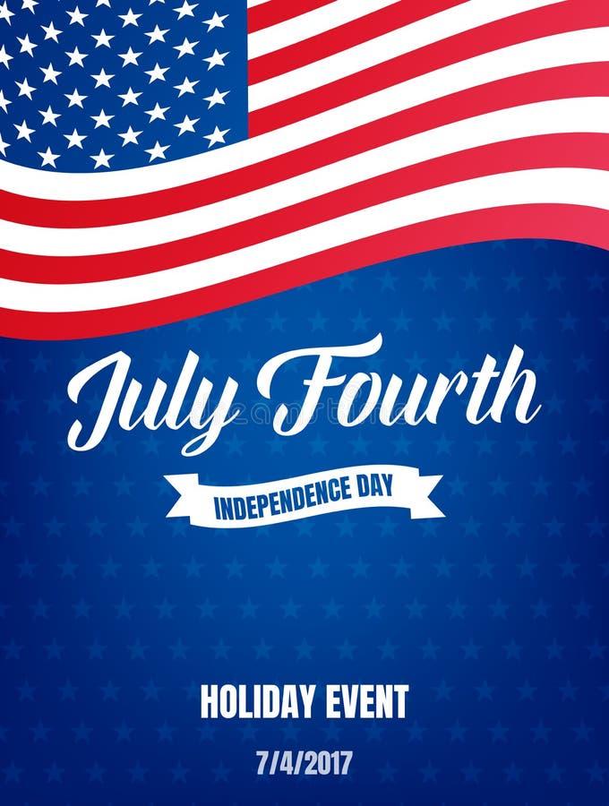 Quarto de julho Cartaz do Dia da Independência dos EUA 4o da bandeira do evento do feriado de julho ilustração stock