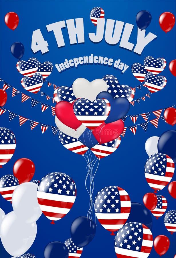 Quarto de julho 4o da bandeira do feriado de julho Dia da Independência dos EUA ilustração stock